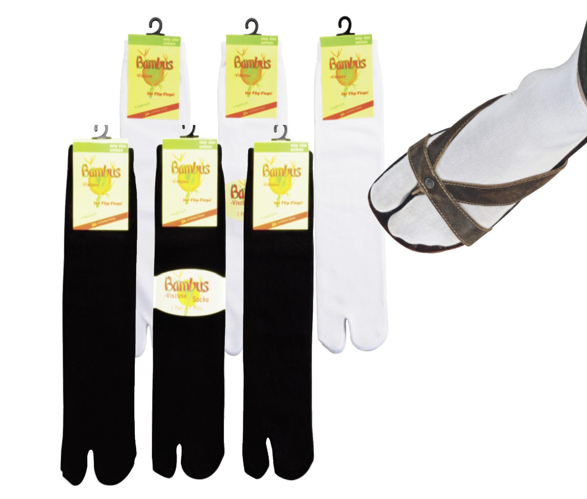 """3 Paar Zwei-Zehen-Sandalen-Bambus-Socken """"Samurai-Socken"""""""