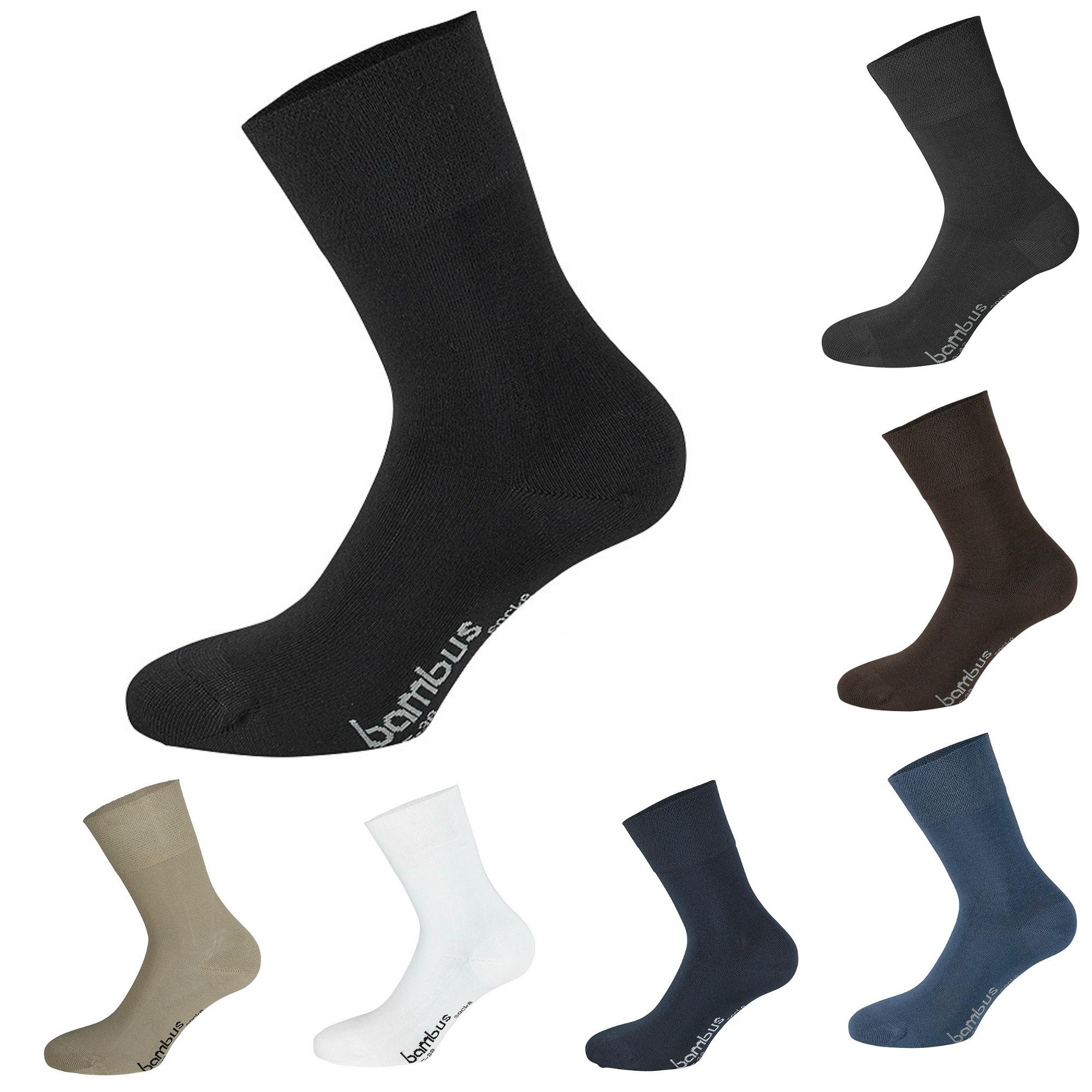 3 Paar TippTexx24 Bambus-Viskose-Socken (Bambussocken) ohne Gummidruck